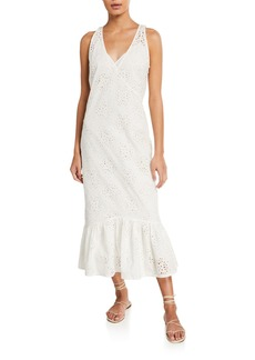SIR The Label Celeste Flared Eyelet Midi Dress