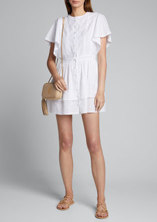 SIR The Label Charlee Embroidered Button-Front Mini Dress
