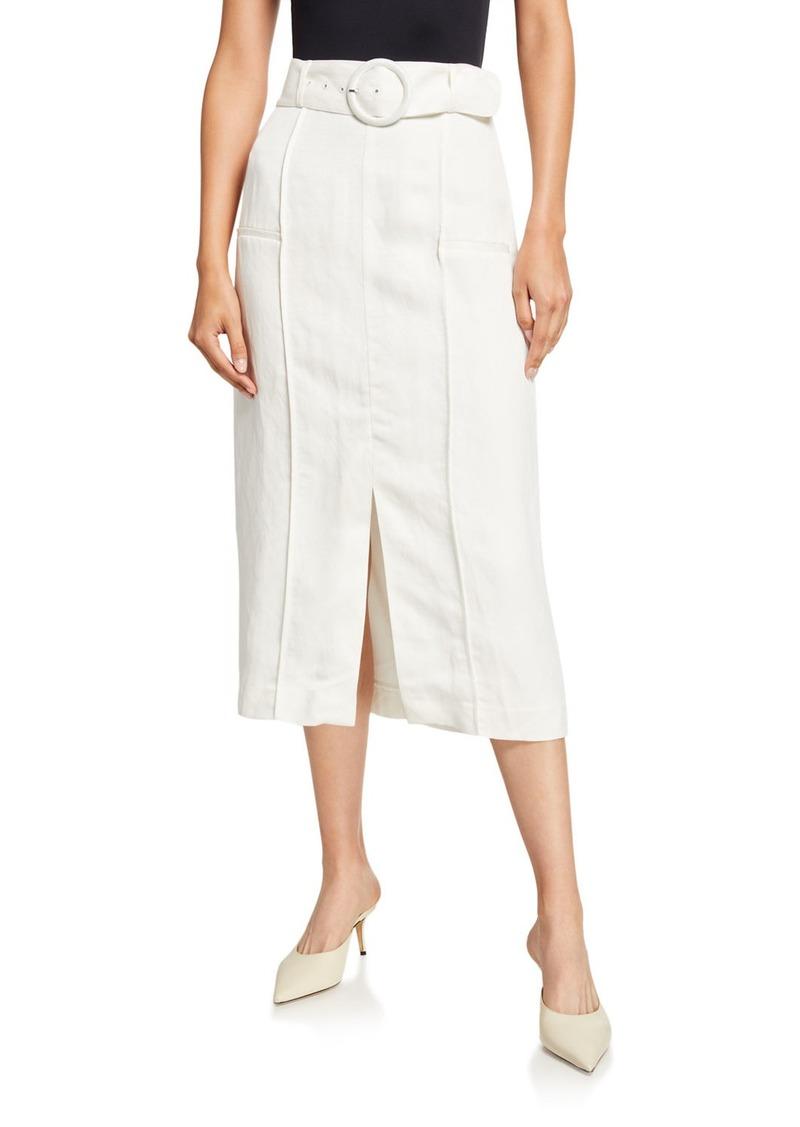 SIR The Label Inez Belted Linen Midi Skirt