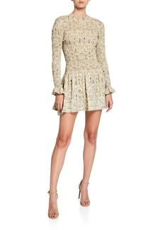 SIR The Label Sachi Long-Sleeve Ruched Mini Dress