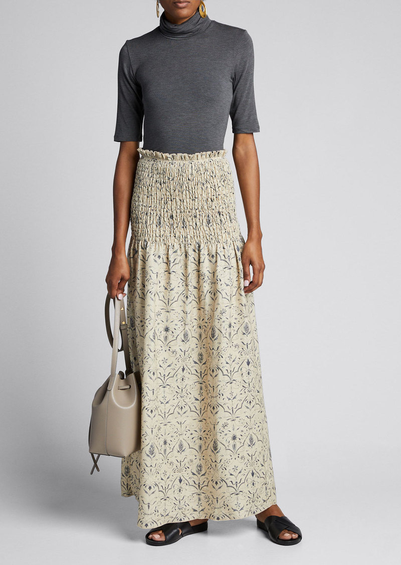 SIR The Label Sachi Ruched Linen Maxi Skirt