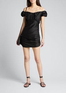 SIR The Label Valetta Off-Shoulder Silk Mini Dress