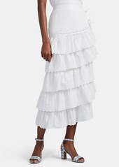 SIR The Label Women's Celie Cotton Eyelet Tiered Skirt