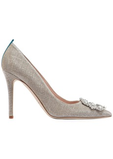 SJP 100mm Amira Embellished Lame Fabric Pump