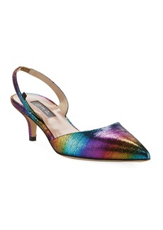 SJP Bliss Rainbow Metallic Low-Heel Pumps