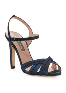 SJP Cadence High-Heel Camo Satin Sandals