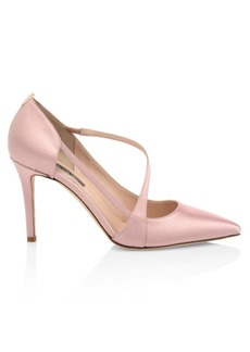SJP Cosmo Diagonal Strap Satin Pumps