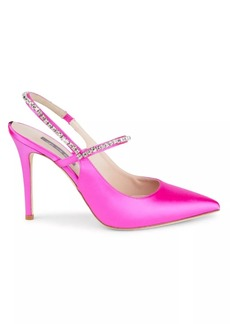 SJP Deluxe Crystal-Embellished Satin Slingback Pumps