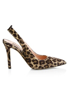 SJP Doe Leopard Print Sling Back Pumps