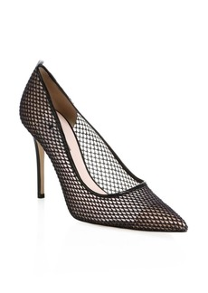 SJP Fawn Mesh Leather Point-Toe Pumps