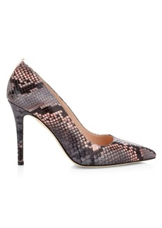 SJP Fawn Python-Embossed Leather Pumps