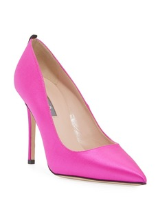 SJP Fawn Satin Pointed-Toe 100mm Pumps