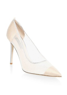 SJP Glass Leather-Trimmed Mesh Pumps