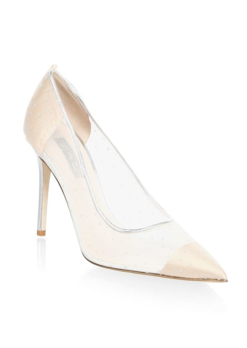 SJP Glass Material Point Toe Leather Pumps