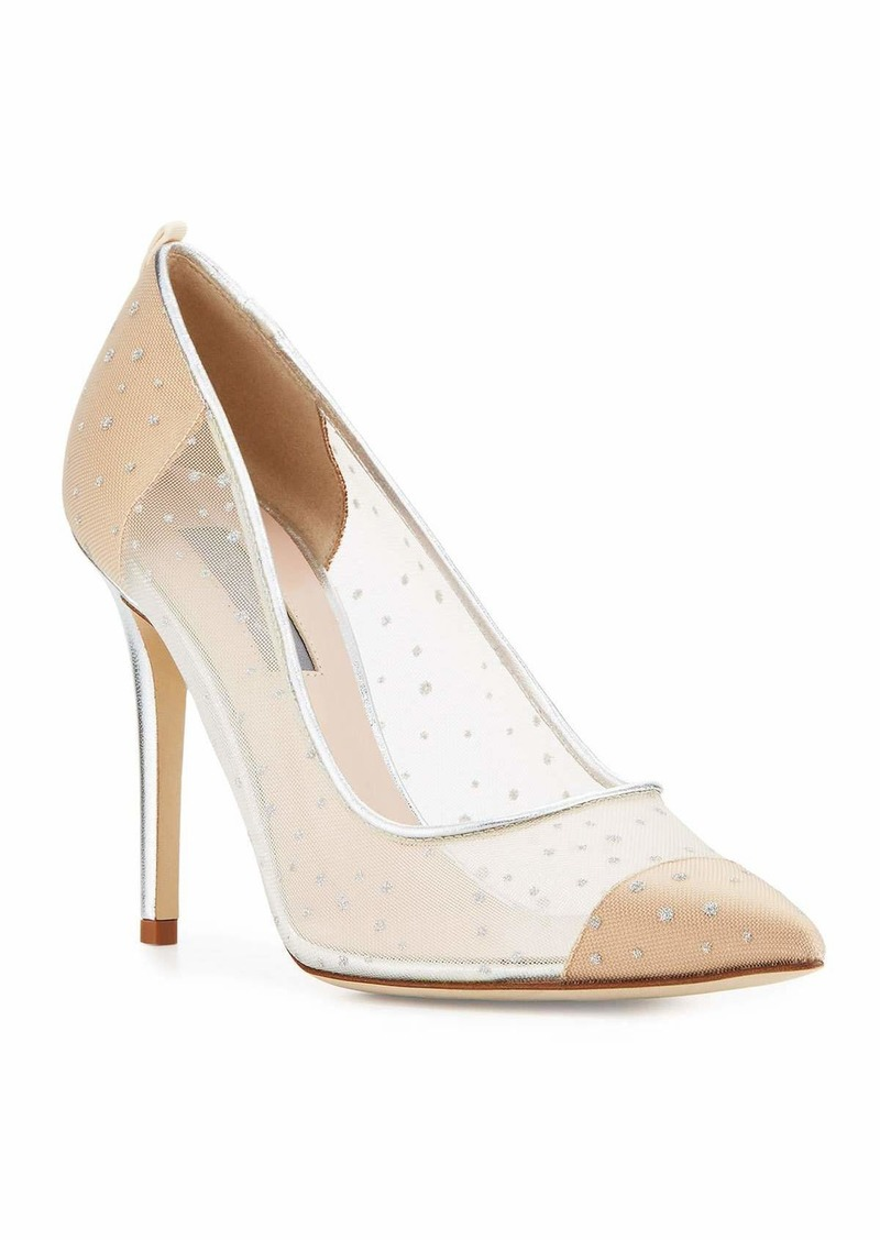 SJP Glass Mesh 100mm Pumps  Beige