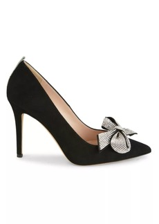 SJP Guest Embellished-Bow Suede Pumps