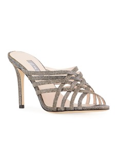 SJP Held Glitter Strappy Cage Mule Sandals