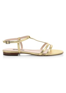SJP Honoree Flat Metallic Leather Sandals