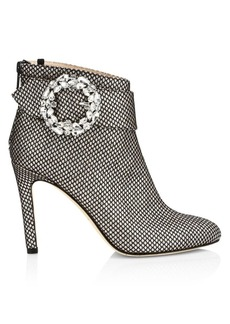 SJP Jeweled Buckle Glittered Ankle Boots