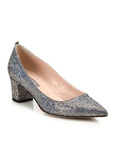SJP Katrina Sequined Point Toe Block Heel Pumps