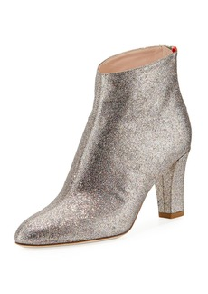 SJP Minnie 75mm Sparkle Glitter Almond-Toe Booties