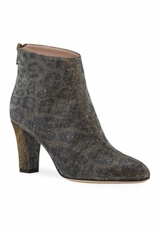 SJP Minnie Glittered Leopard Ankle Booties