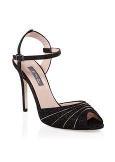 SJP Monroe Glitter Peep-Toe Heels