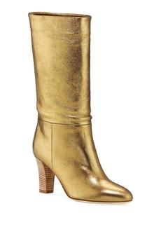 SJP Reign Metallic Leather Block-Heel Boots