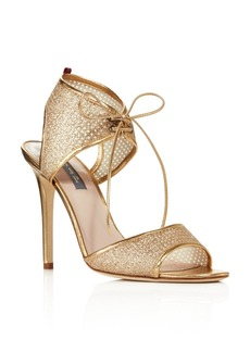 SJP by Sarah Jessica Parker Ravish Leather and Glitter Mesh High Heel Sandals - 100% Exclusive