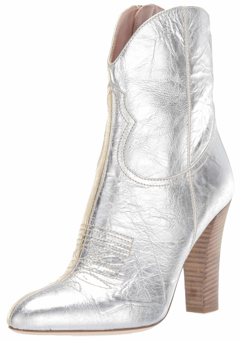 SJP by Sarah Jessica Parker Women's Western Boot Ankle Silver/Gold Metal nappa