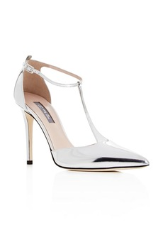 SJP by Sarah Jessica Parker Women's Taylor Patent Leather T-Strap Pointed Toe Pumps