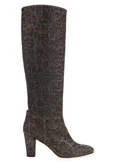 SJP Studio Leopard-Print Glitter Boots