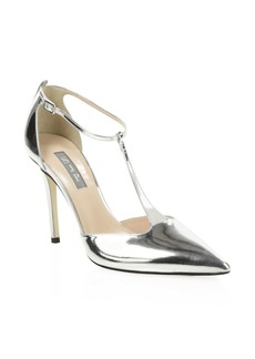 SJP Taylor Metallic Leather T-Strap Pumps