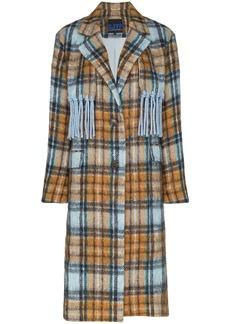 SJYP Checked fringe detail mid-length coat