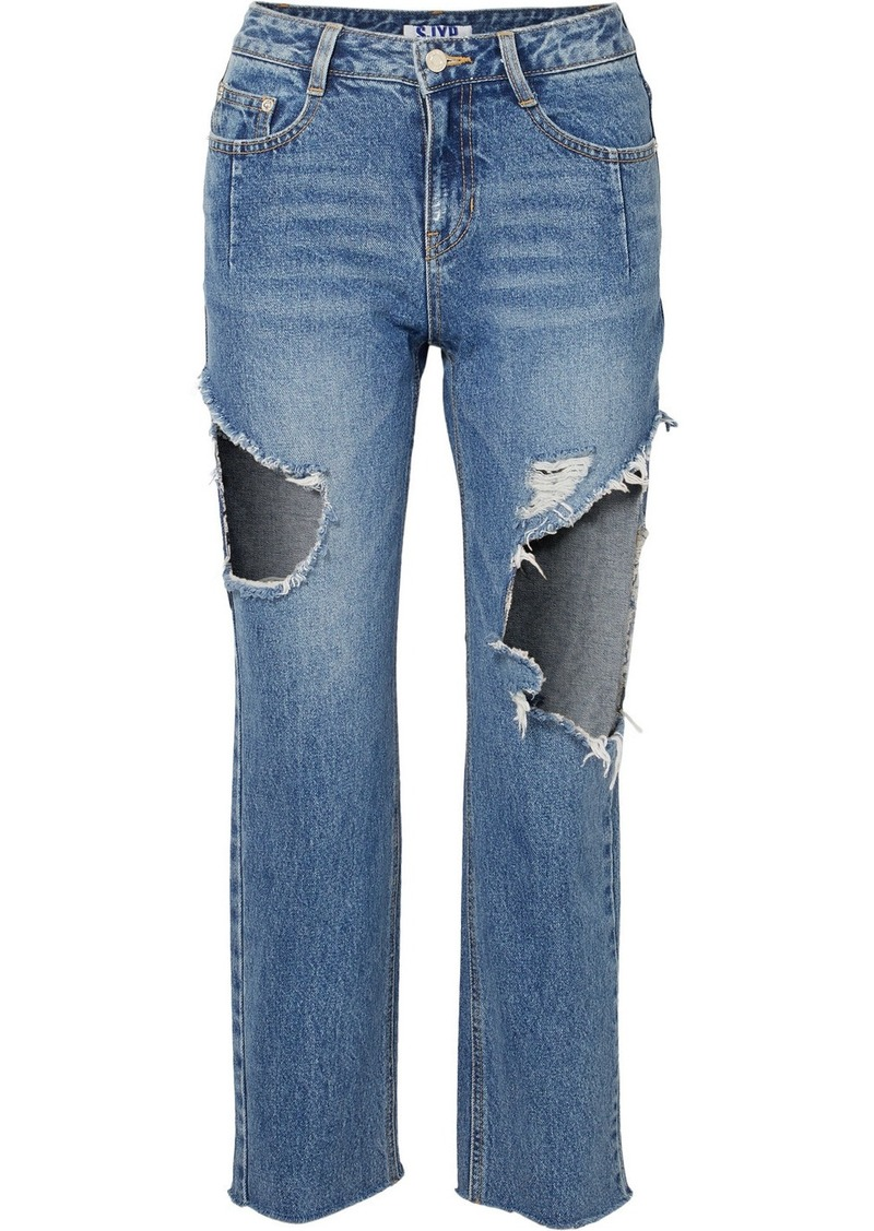 SJYP Cropped Distressed Mid-rise Straight-leg Jeans