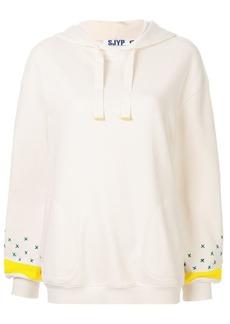 SJYP embroidered sleeve hoodie