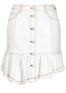 SJYP raw-cut denim mini skirt