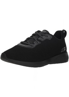 BOBS from Skechers Women's Bobs Squad - Team Bobs. Lace Up Embossed Microfiber Suede w memory foam. Shoe bbk  M US