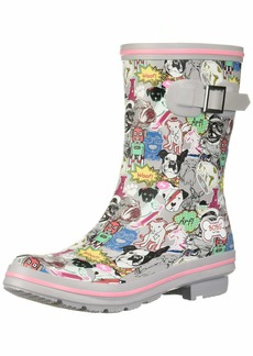 Skechers BOBS Women's Check-Mixed Media Print rain Boot   M US