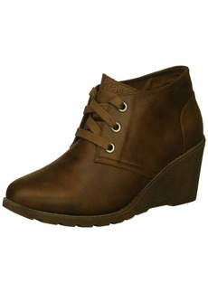 Skechers BOBS Women's Tumble Weed-Goin West. Microfiber Wedge Bootie w Memory Foam Ankle Boot   M US
