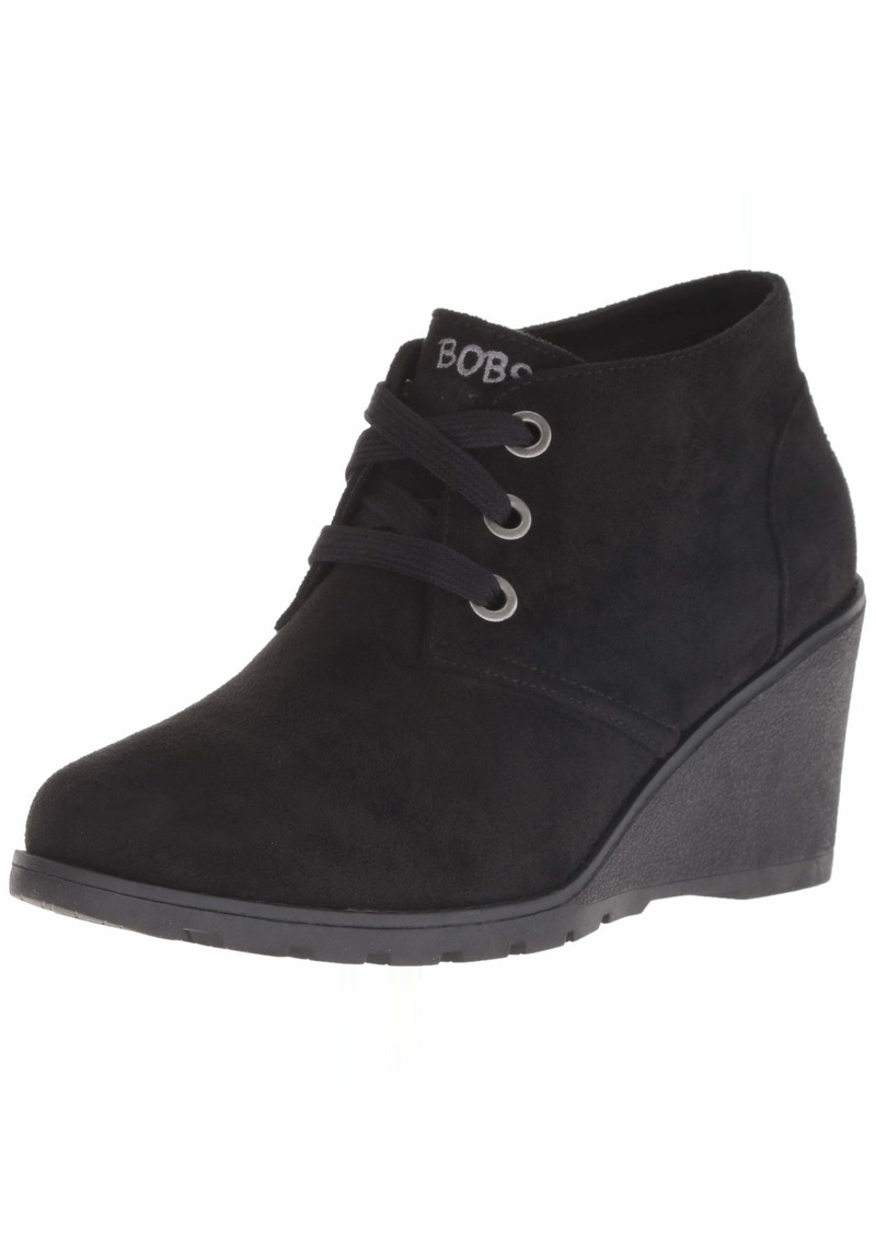 Skechers BOBS Women's Tumble Weed-Urban Rugged. Suede Wedge Bootie w Memory Foam Ankle Boot BBK  M US