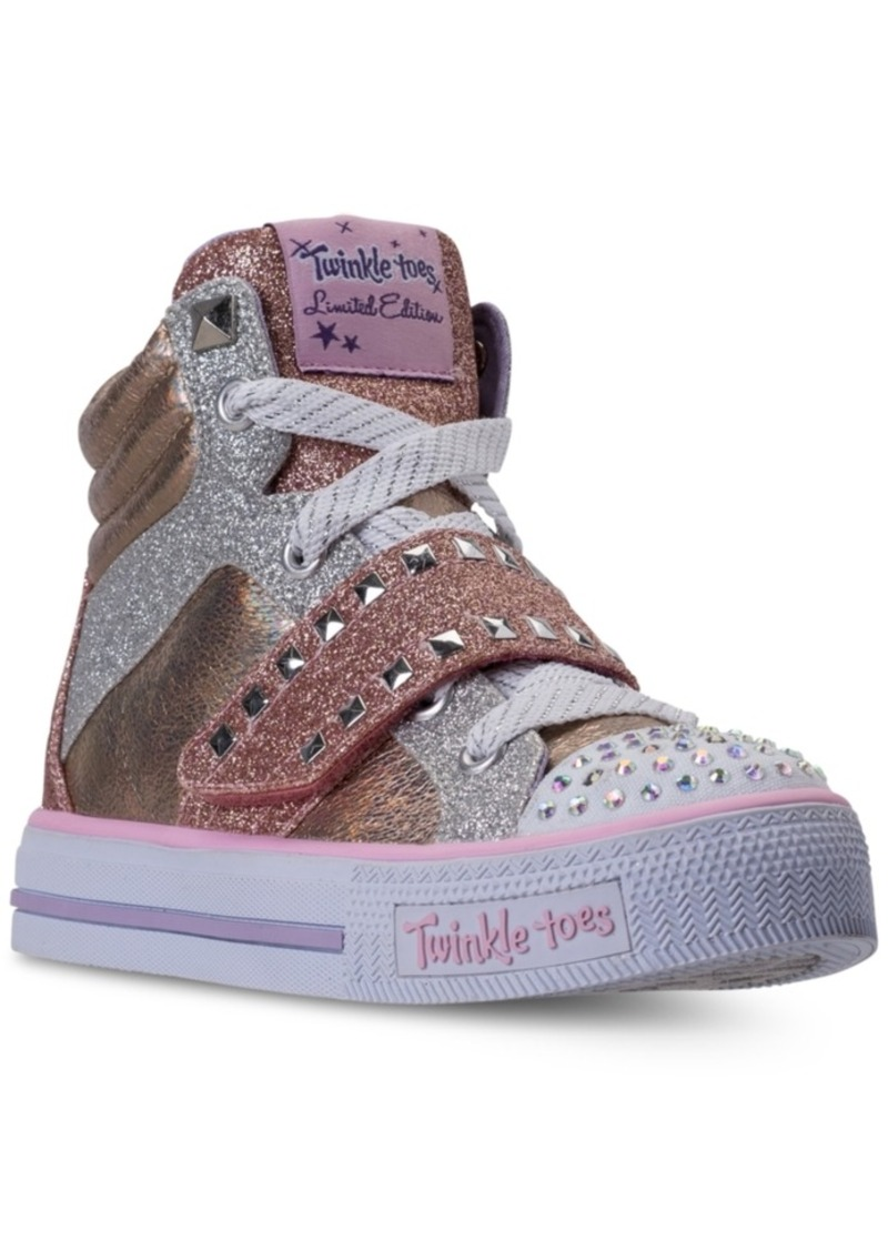 f0d472557512 Little Girls  Twinkle Toes  Shuffles - Miss Metallic Light-Up High Top  Casual Sneakers from Finish Line