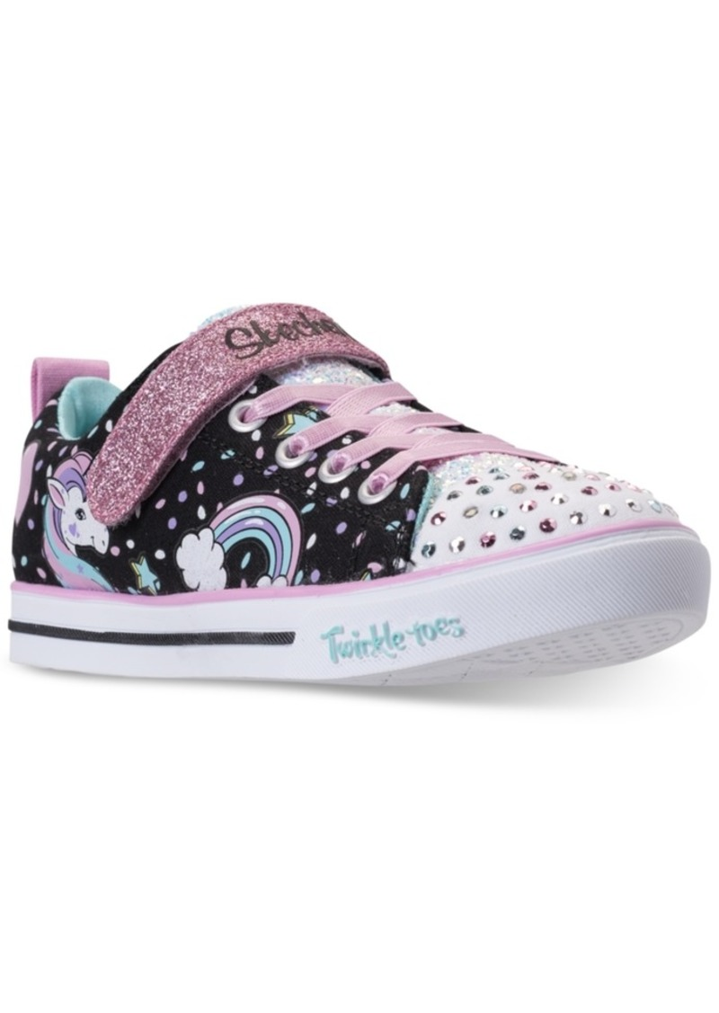0898a9fd0eda Little Girls  Twinkle Toes  Shuffles - Sparkle Lite Unicorn Light-up  Stay-Put Closure Casual Sneakers from Finish Line. Skechers