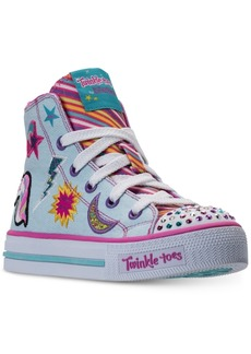 Skechers Little Girls' Twinkle Toes: Shuffles - Twist N Turns Light-Up High Top Casual Sneakers from Finish Line