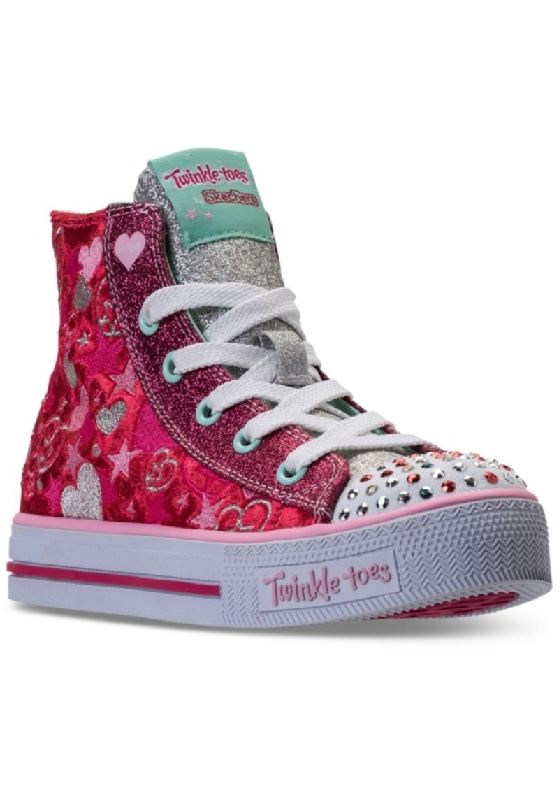 6191c37a59d2 Little Girls  Twinkle Toes  Shuffles - Velvet Crush Light-Up High Top  Casual Sneakers from Finish Line. Skechers