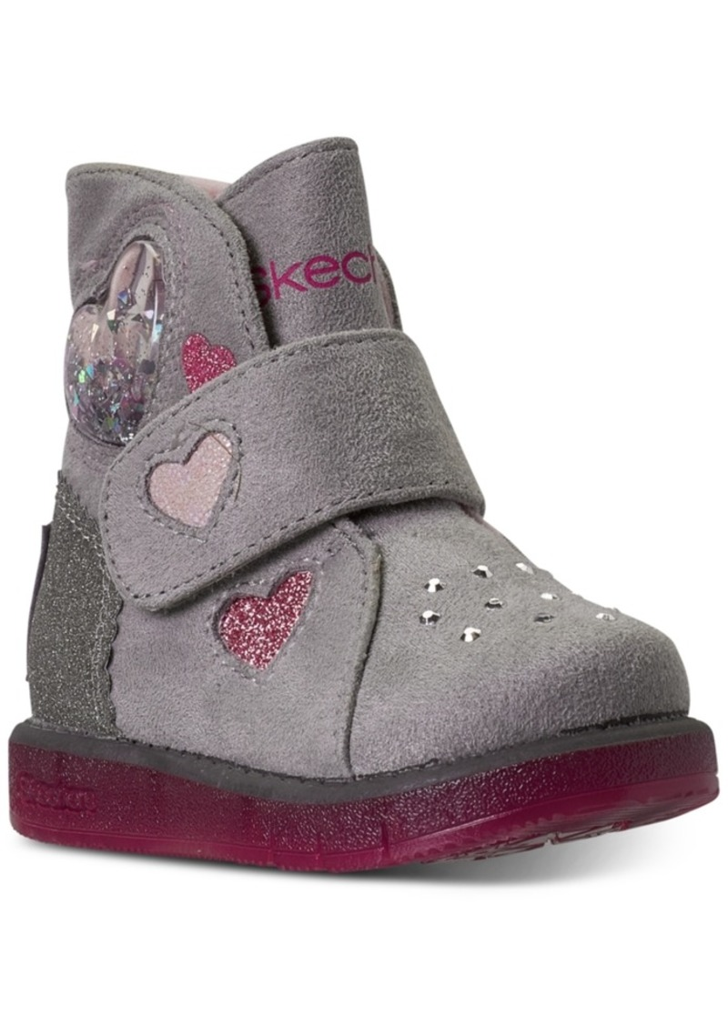 Skechers Toddler Girls Twinkle Toes Glitzy Glam Cozy Sweetheart Stay-Put Closure Boots from Finish Line