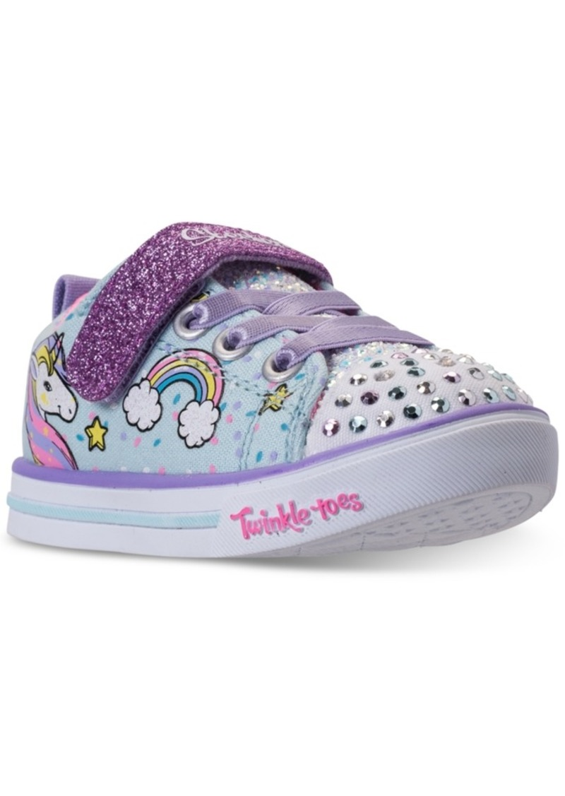 b02397976792 Toddler Girls  Twinkle Toes  Shuffles - Sparkle Lite Unicorn Light-up  Stay-Put Closure Casual Sneakers from Finish Line. Skechers