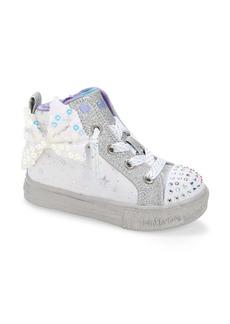 SKECHERS Twinkle Toes Shuffle Lite Light-Up High Top Sneaker (Walker & Toddler)