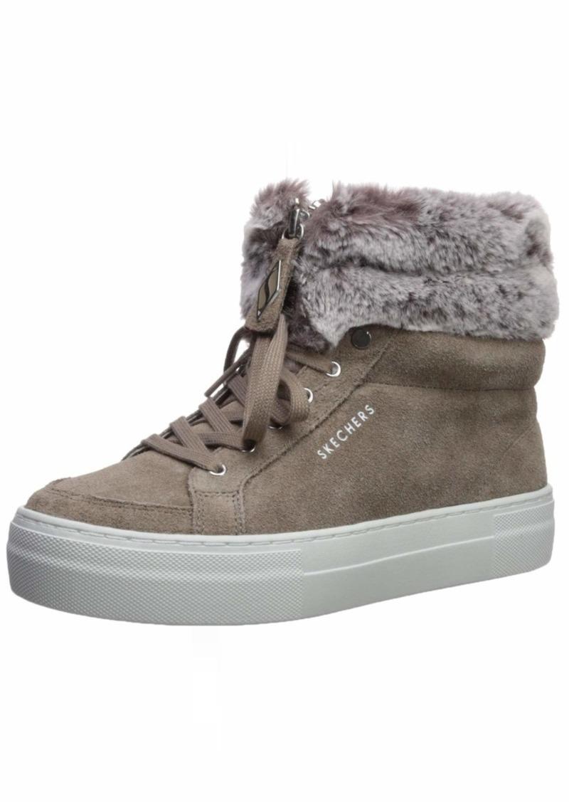Skechers Women's Alba-Anklet. Suede Faux Fur Collar Sneakerboot Sneaker TPE  M US
