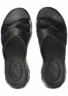 Skechers Women's Aqua D'Lites-Molded Toe-Loop Slide Flip-Flop Black  M US